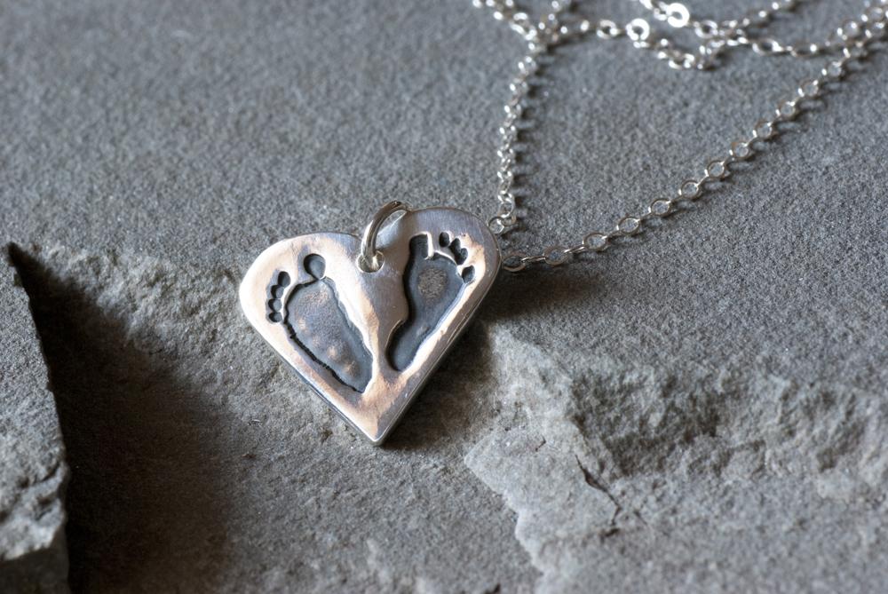 Footprint Heart Necklace