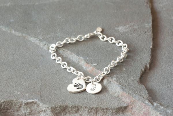 Personalized Handprint Charm Bracelet