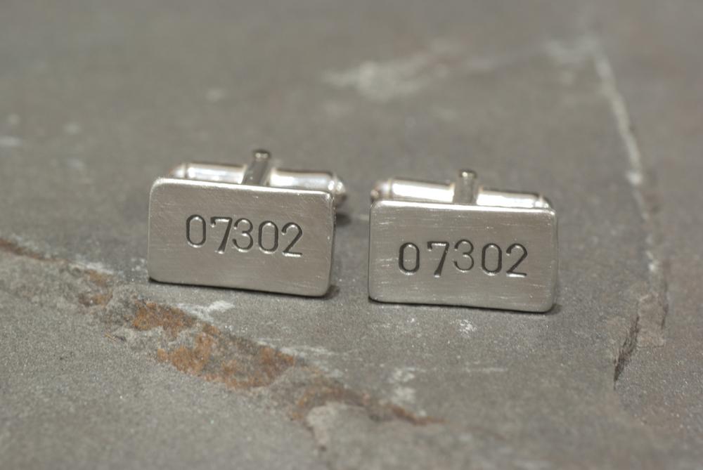 Zip Code Cufflinks in Sterling Silver