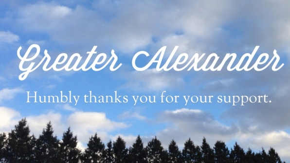 Greater Alexander humbly thanks you for your support.