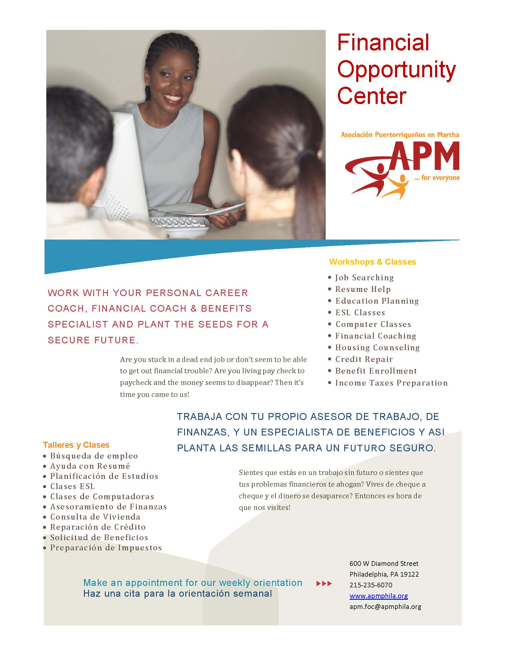 APM's Financial Opportunity Center Flyer