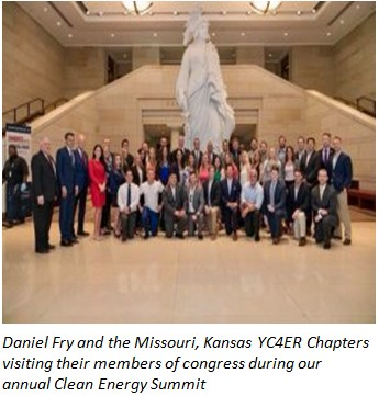 Daniel Fry and the Missouri, Kansas YC4ER Chapters visiting their members of congress during our annual Clean Energy Summit