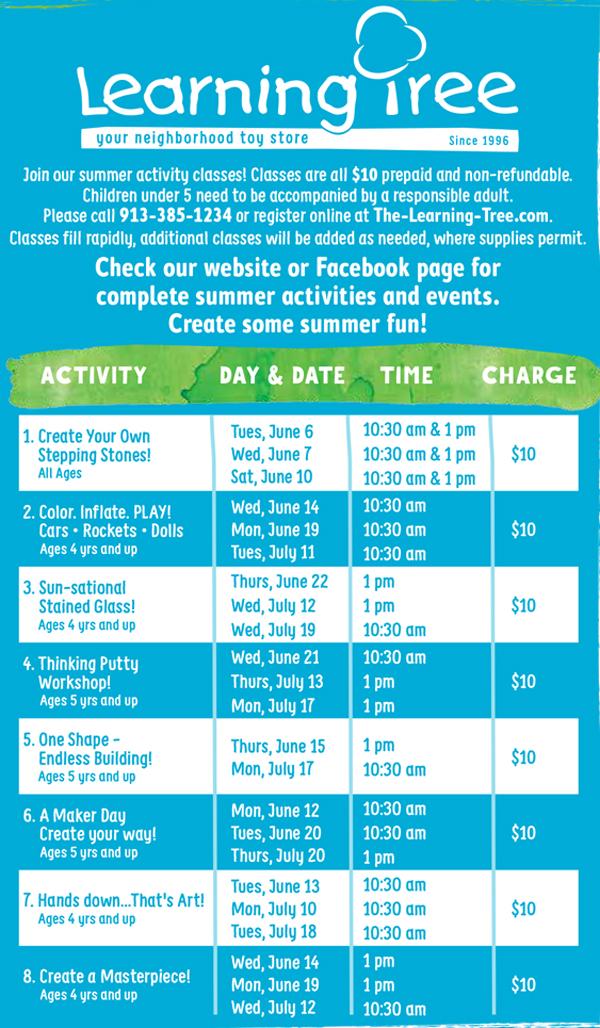 Summer Activities Classes Schedule