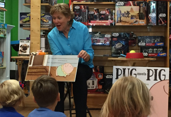 Sue Gallion reads her book, Pug Meets Pig, at The Learning Tree