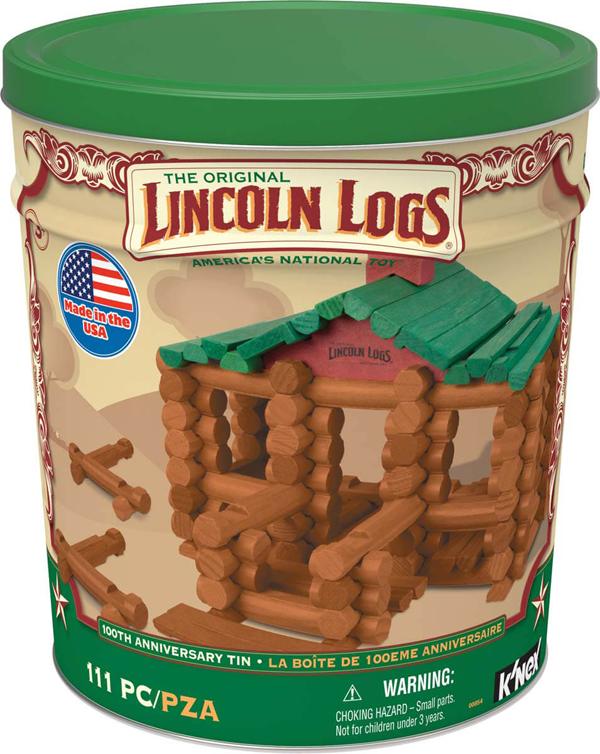 Lincoln logs aniiversary tin