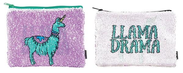 Llama Drama glitter pouch bag