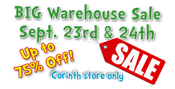 Warehouse Sale Sept. 23 and 24 at Corinth Square