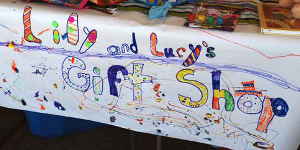 Lily and Lucy's Gift Shop sign at the flea market