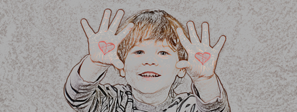 Boy with hearts