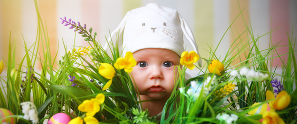 baby with bunny hat