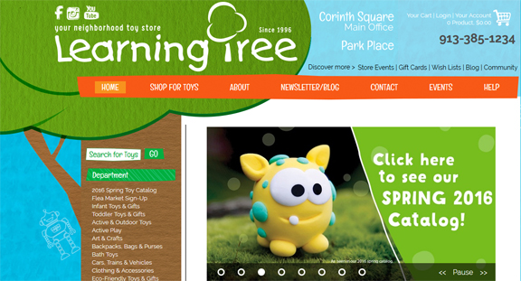 The Learning Tree toy stores website
