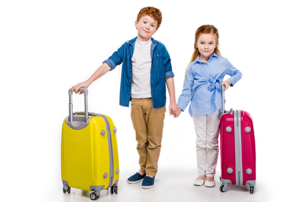 kids with luggage