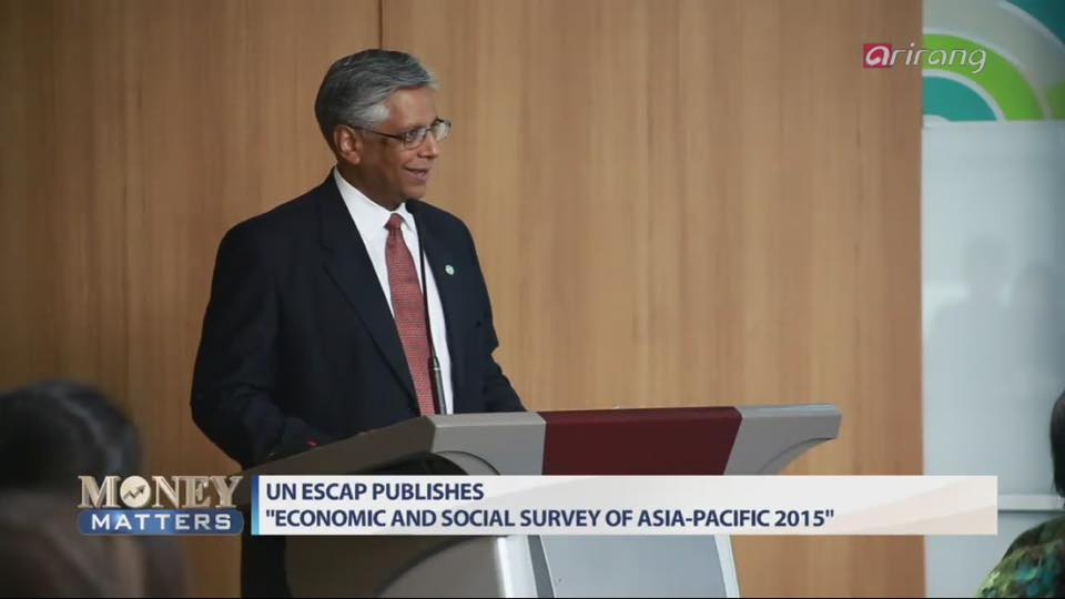 ENEA Office Director Mr. Kilaparti Ramakrishna presents the findings of Survey 2015 at the country launch, aired on 21 May by Arirang TV.