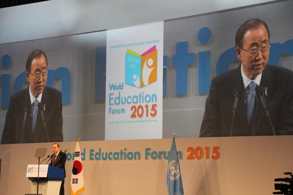 UN Secretary-General Ban Ki-moon opens the World Education Forum 2015 in Songdo, Republic of Korea.