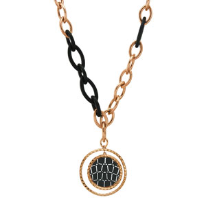 Oxette κολιέ 01X27-00281 από ανοξείδωτο ατσάλι (Stainless Steel) με Ion Plated Rose Gold και Black.