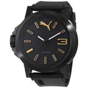 Puma ρολόι από μαύρο ανοξείδωτο ατσάλι με μαύρο λουράκι σιλικόνης PU103462020