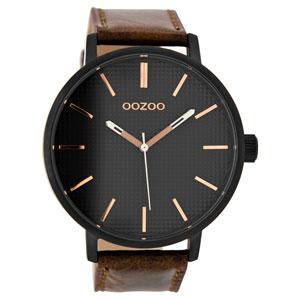 OOZOO Timepieces C9002 ανδρικό ρολόι XL με μαύρη μεταλλική κάσα και καφέ δερμάτινο λουράκι