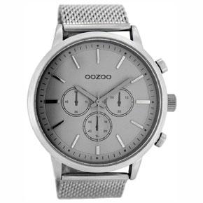 OOZOO Timepieces ανδρικό ρολόι XL με ασημί μεταλλική κάσα και ασημί μπρασελέ C8263