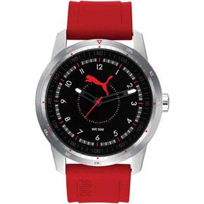 Puma ρολόι από ανοξείδωτο ατσάλι με κόκκινο λουράκι σιλικόνης PU104111002