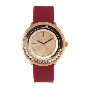 Loisir ρολόι 11L75-00270 με ροζ χρυσή μεταλλική κάσα και λουράκι από καουτσούκ