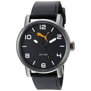 Puma ρολόι από ανοξείδωτο ατσάλι με μαύρο λουράκι σιλικόνης PU104141001