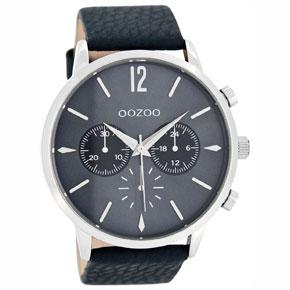 OOZOO Timepieces ανδρικό ρολόι XL με ασημί μεταλλική κάσα και σκούρο μπλε δερμάτινο λουράκι C8242