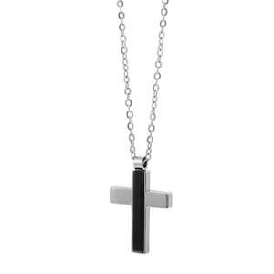 Ανδρικός σταυρός Visetti από ανοξείδωτο ατσάλι, με μαύρη επιμετάλλωση (Ion Plated Black). [AD-KD139]