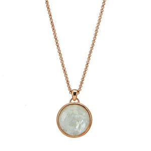 Oxette μενταγιόν 05X15-00004 από ροζ ορείχαλκο με ημιπολύτιμες πέτρες (Κρύσταλλοι Quartz).