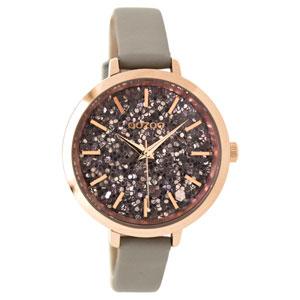 OOZOO Timepieces C9147 γυναικείο ρολόι με ροζ χρυσή μεταλλική κάσα και σταχτί δερμάτινο λουράκι