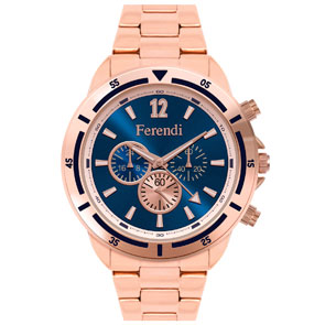 Ferendi ρολόι 4424-4 με rose gold alloy πλαίσιο και μπρασελέ.