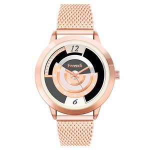 Ferendi ρολόι 2332-1 με rose gold alloy πλαίσιο και μπρασελέ.