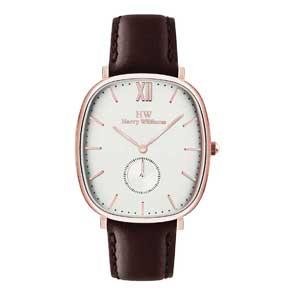 Harry Williams ρολόι από ροζ χρυσό ανοξείδωτο ατσάλι με καφέ δερμάτινο λουράκι HW-2435M/13
