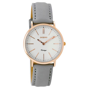 OOZOO Timepieces C8820 γυναικείο ρολόι με ροζ χρυσή μεταλλική κάσα και γκρι δερμάτινο λουράκι