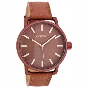 OOZOO Timepieces γυναικείο ρολόι με σκούρη ροζ μεταλλική κάσα και σκούρο ροζ δερμάτινο λουράκι C8312