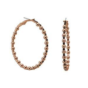 Loisir σκουλαρίκια 03L15-00087 κρίκοι από ροζ ορείχαλκο με ημιπολύτιμες πέτρες (Κρύσταλλοι Quartz)