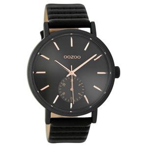 OOZOO Timepieces C9189 γυναικείο ρολόι με μαύρη μεταλλική κάσα και μαύρο δερμάτινο λουράκι