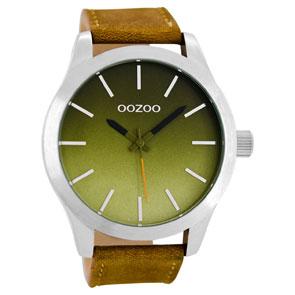 OOZOO Timepieces ανδρικό ρολόι XL με ασημί μεταλλική κάσα και καφέ δερμάτινο λουράκι C8556