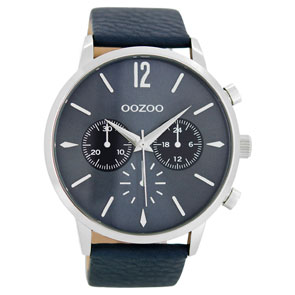 OOZOO Timepieces ανδρικό ρολόι XL με ασημί μεταλλική κάσα και σκούρο μπλε δερμάτινο λουράκι C8518