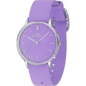 Harry Williams ρολόι από ανοξείδωτο ατσάλι με μωβ λουράκι σιλικόνης HW-2417L/04