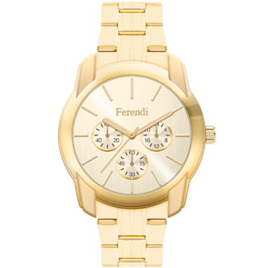 Ferendi ρολόι 3998-5 με gold alloy πλαίσιο και μπρασελέ.