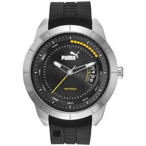Puma ρολόι από ανοξείδωτο ατσάλι με μαύρο λουράκι σιλικόνης PU104191002