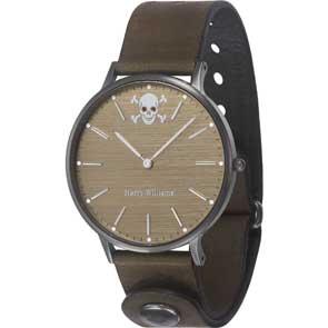 Harry Williams ρολόι από μαύρο ανοξείδωτο ατσάλι με καφέ δερμάτινο λουράκι HW-2402M/12D