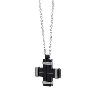 Ανδρικός σταυρός Visetti από ανοξείδωτο ατσάλι, με μαύρη επιμετάλλωση (Ion Plated Black). [AD-KD126]