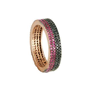 Oxette δαχτυλίδι 04X05-01218 από ροζ επιχρυσωμένο ασήμι 925ο με ημιπολύτιμες πέτρες (Ζιργκόν).