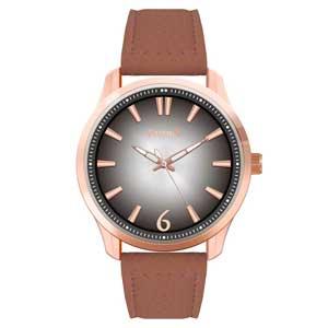 Ferendi ρολόι 9965-11 με rose gold alloy πλαίσιο και δερμάτινο λουράκι.
