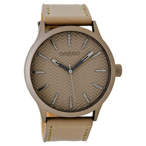 OOZOO Timepieces C9018 unisex ρολόι με σταχτί μεταλλική κάσα και σταχτί δερμάτινο λουράκι
