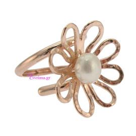 Χειροποίητο δαχτυλίδι (Λουλούδι) από ροζ επιχρυσωμένο ασήμι 925ο με ημιπολύτιμες πέτρες (Πέρλες). IJ-010415