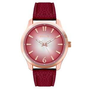 Ferendi ρολόι 9965-5 με rose gold alloy πλαίσιο και δερμάτινο λουράκι.