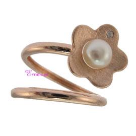 Χειροποίητο δαχτυλίδι (Λουλούδι) από ροζ επιχρυσωμένο ασήμι 925ο με ημιπολύτιμες πέτρες (Πέρλες και Ζιργκόν). IJ-010418