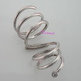 Χειροποίητο δαχτυλίδι (Μακρύ Σπιράλ) από επιπλατινωμένο ασήμι 925ο με ημιπολύτιμες πέτρες (Ζιργκόν). IJ-010414